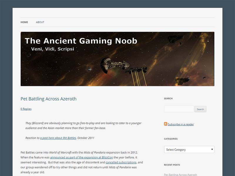 The Ancient Gaming Noob Website Screenshot