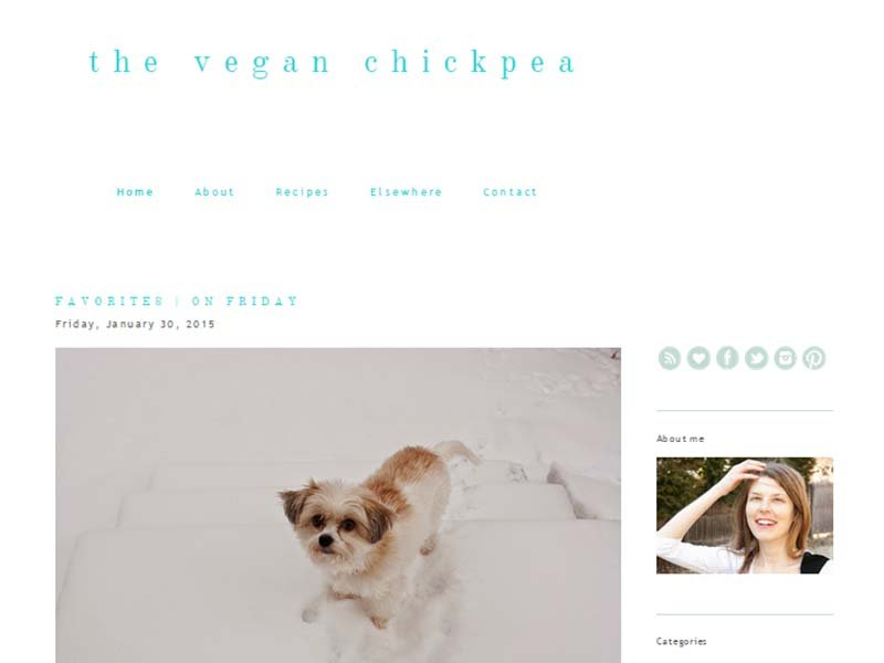 The Vegan Chickpea Website Screenshot