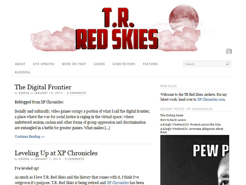 T.R. Red Skies Website Screenshot