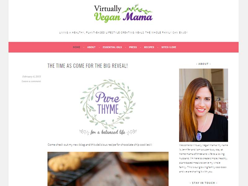 Virtually Vegan Mama Website Screenshot