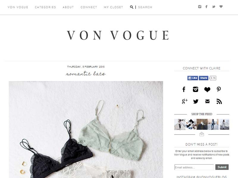Von Vogue - Website Screenshot