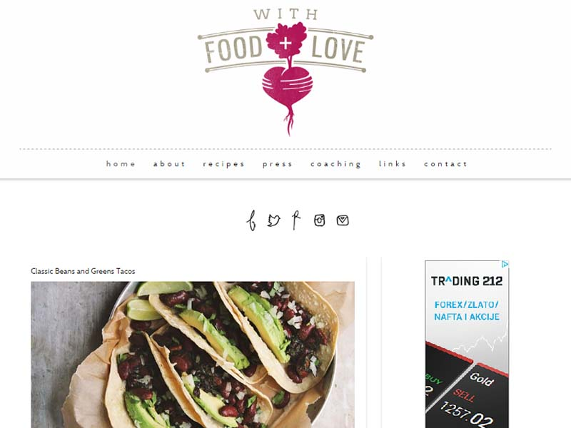 With Food and Love Website Screenshot