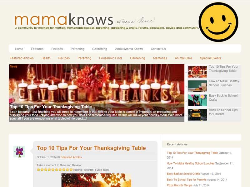 Mama Knows - Website Screenshot