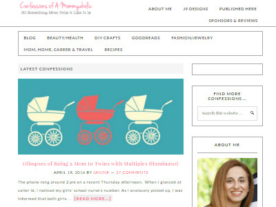 Confessions of a Mommyaholic - Website Screenshot