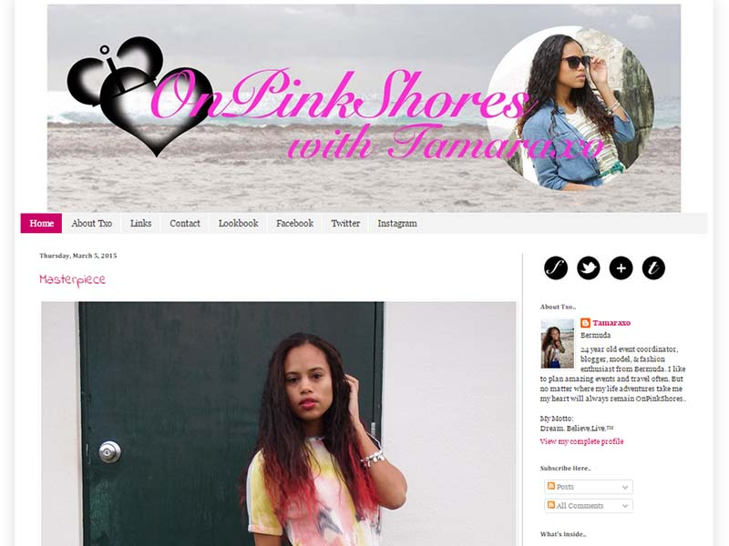 On Pink Shores - Website Screenshot