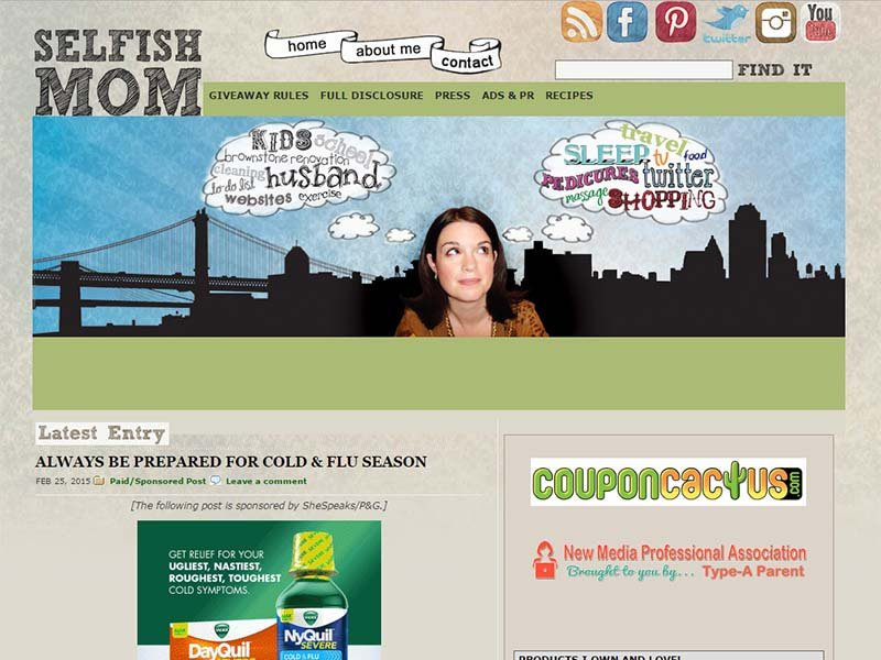 Selfish Mom - Website Screenshot