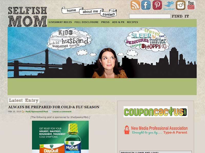 Selfish Mom - Website Screenshot
