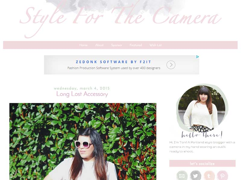 Style for the Camera - Website Screenshot