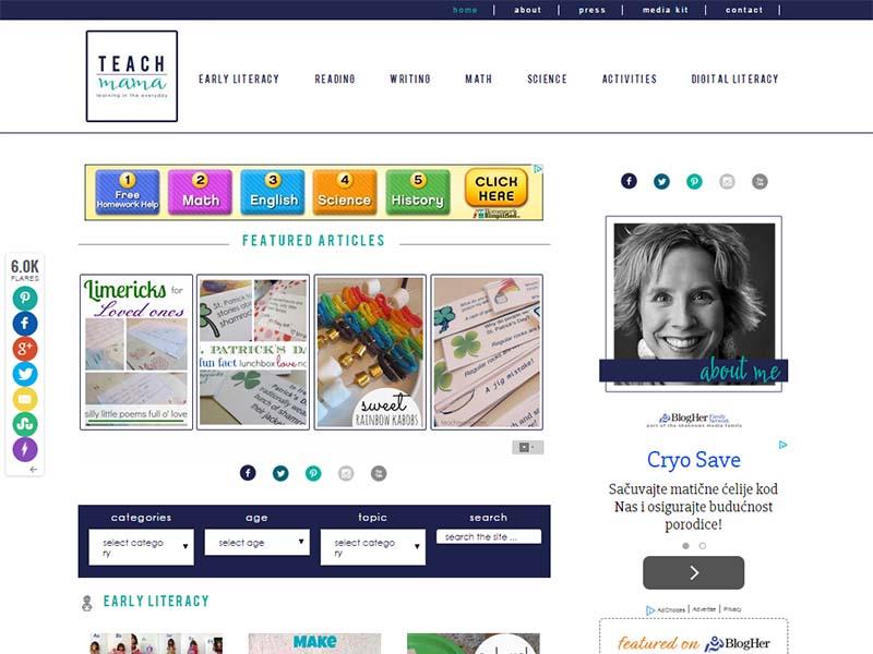 Teach Mama - Website Screenshot