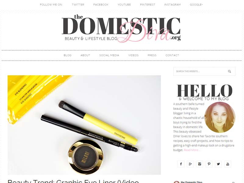 The Domestic Diva - Website Screenshot