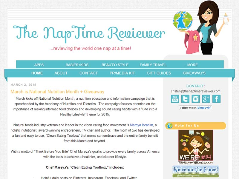 The Nap Time Reviewer - Website Screenshot