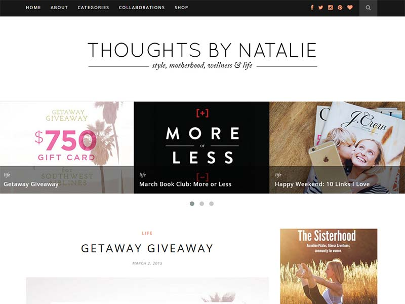 Thoughts By Natalie - Website Screenshot