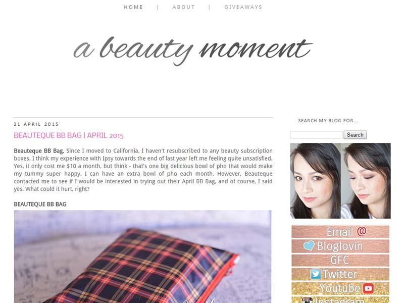 A Beauty Moment - Website Screenshot