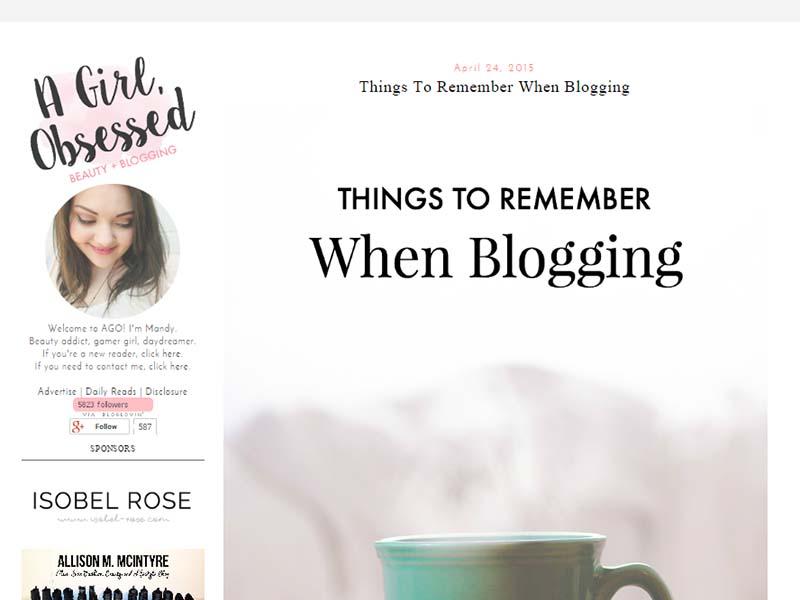 A Girl, Obsessed - Website Screenshot