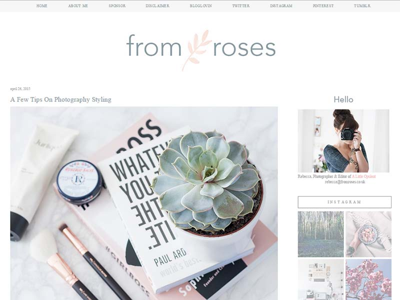From Roses - Website Screenshot