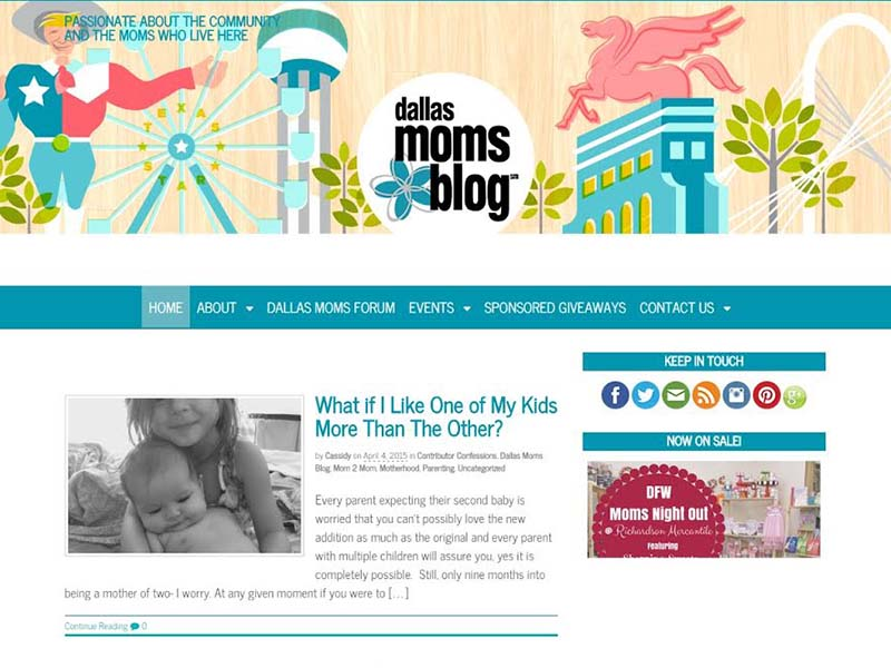 Dallas Moms Blog - Website Screenshot