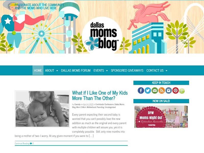 Dallas Moms Blog - Website Screenshot