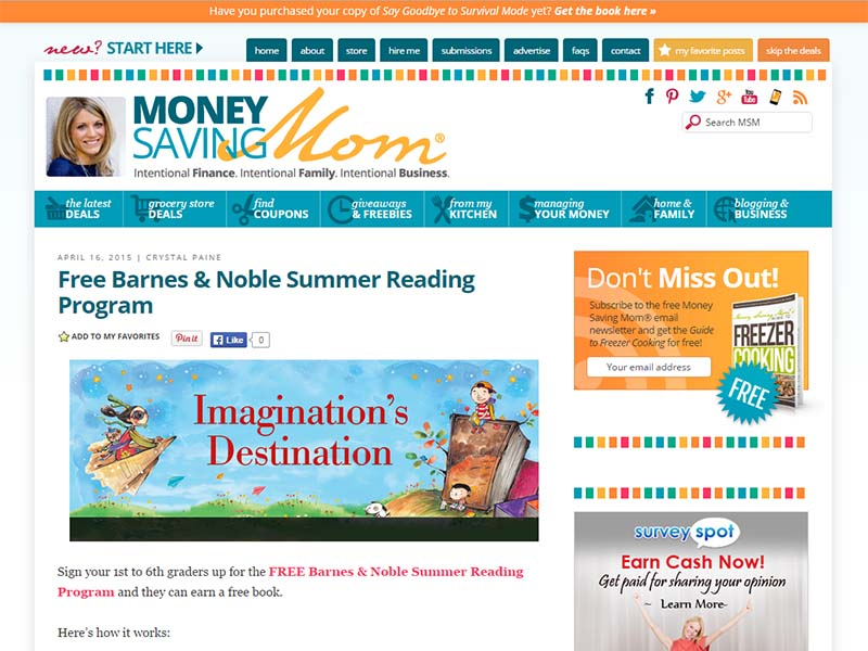 Money Saving Mom - Website Screenshot