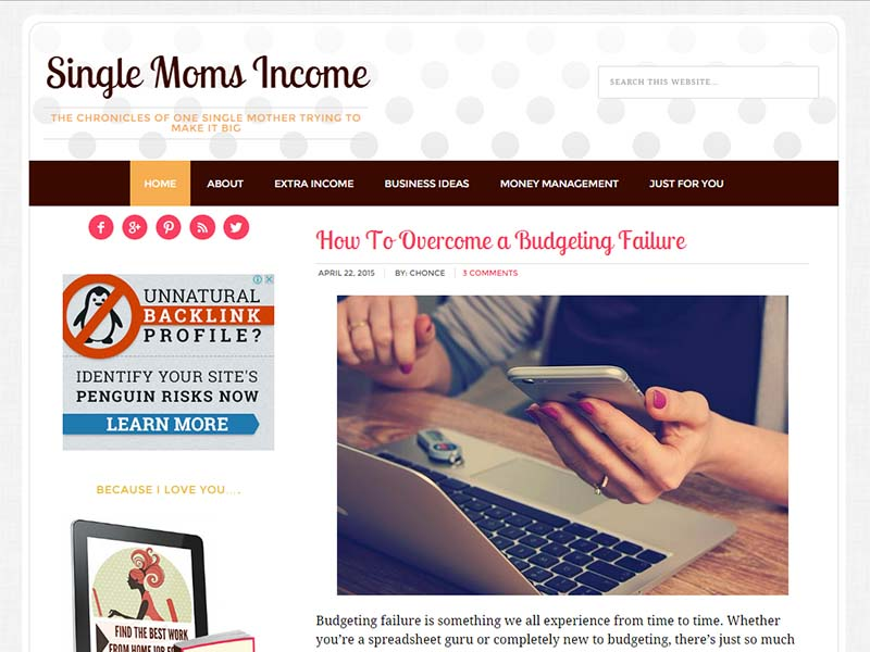 Single Moms Income - Website Screenshot