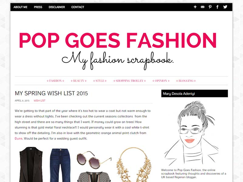 Pop Goes Fashion - Website Screenshot