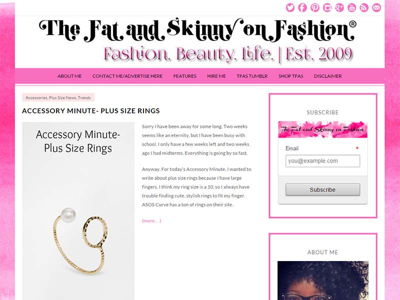 The Fat and Skinny On Fashion - Website Screenshot