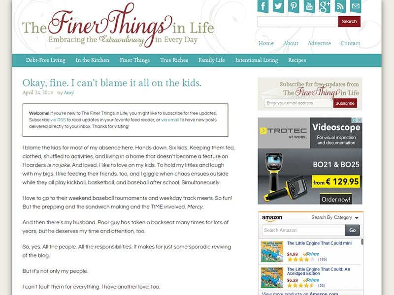 The Finer Things in Life - Website Screenshot