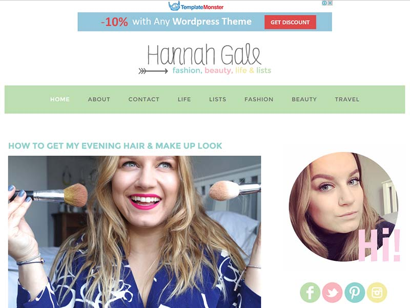 Hannah Gale - Website Screenshot