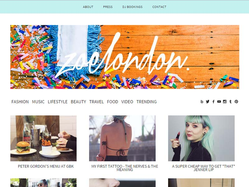 Zoe London - Website Screenshot