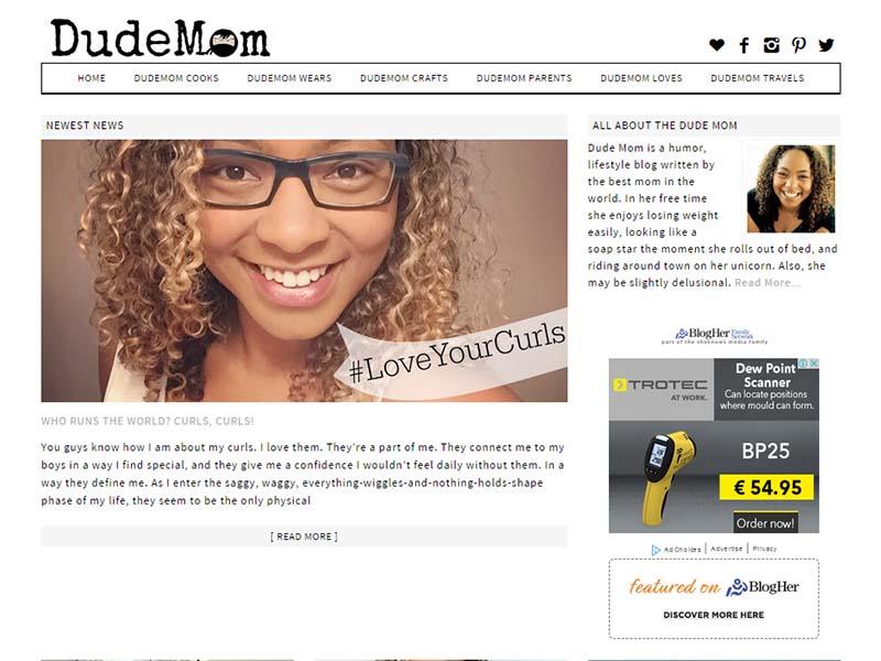 Dude Mom - Website Screenshot