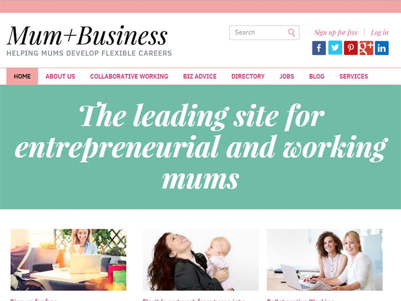 Mum Plus Business - Website Screenshot