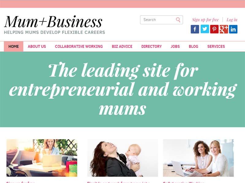 Mum Plus Business - Website Screenshot