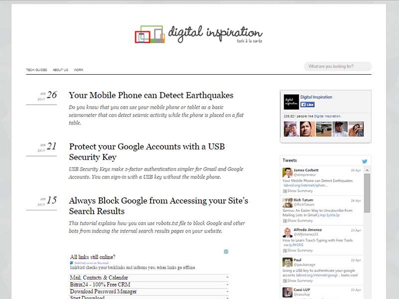 Digital Inspiration - Website Screenshot