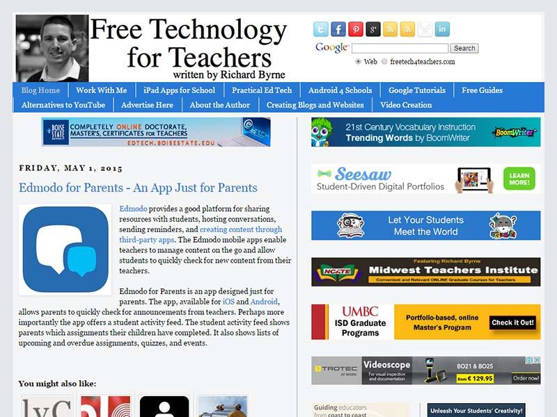 Free Technology for Teachers - Website Screenshot