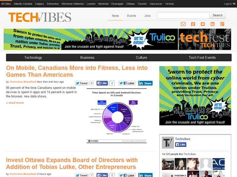 TechVibes - Website Screenshot