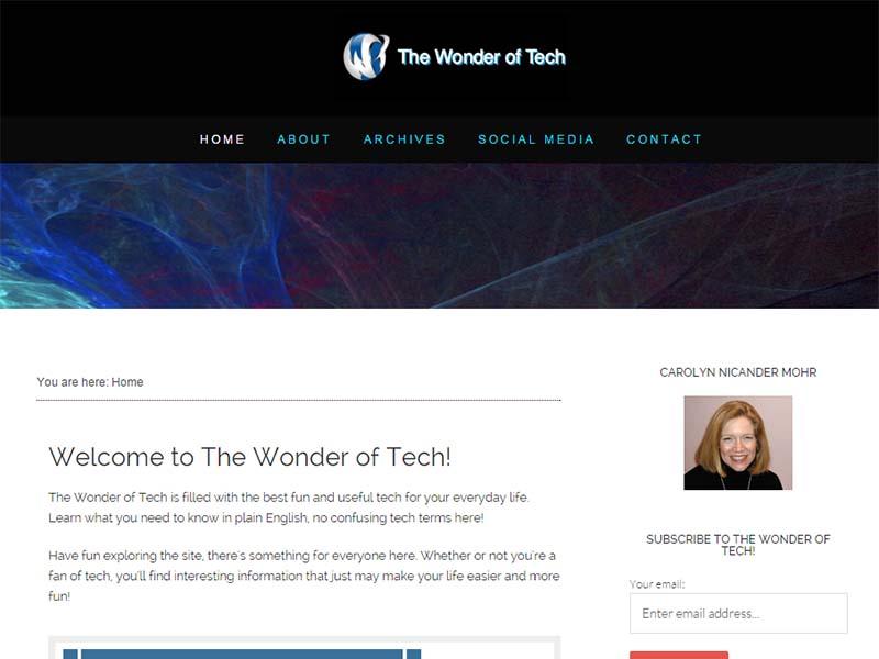 The Wonder of Tech - Website Screenshot