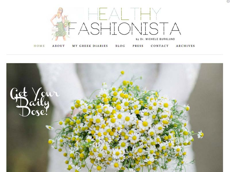 Healthy Fashionista - Website Screenshot