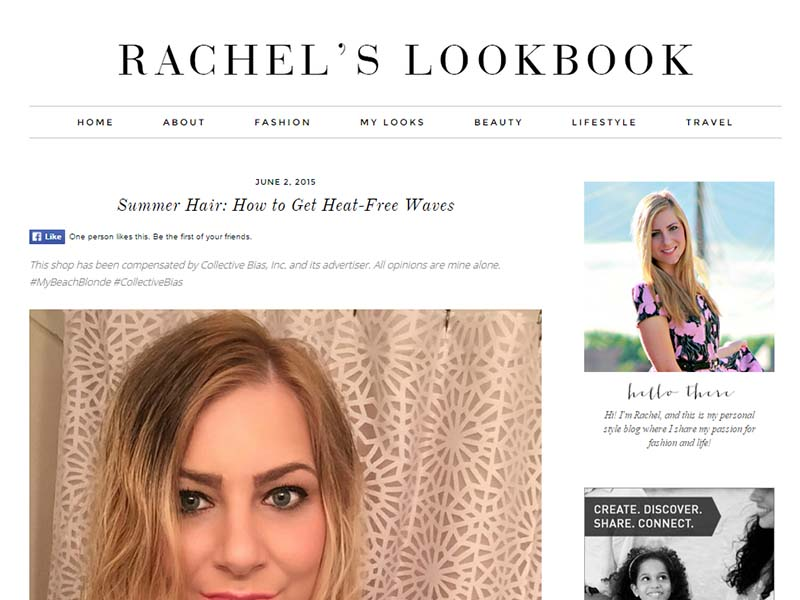 Rachel's Lookbook - Website Screenshot