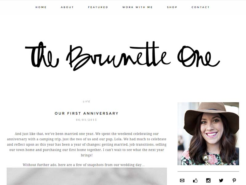 The Brunette One - Website Screenshot