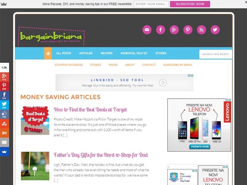 Bargain Briana - Website Screenshot