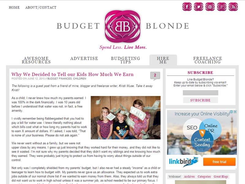 Budget Blonde - Website Screenshot