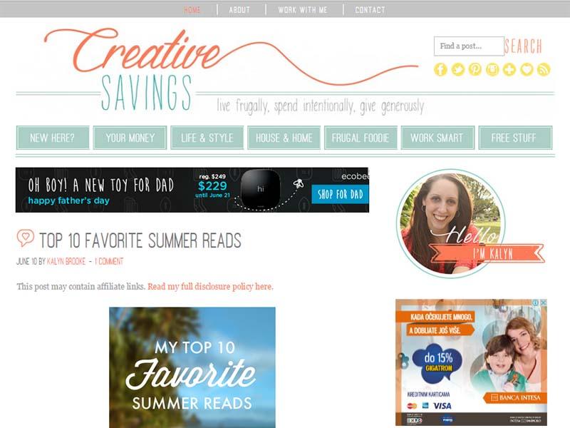 Creative Savings - Website Screenshot