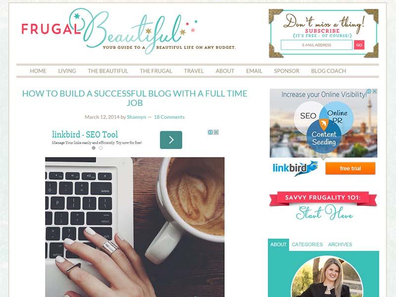 Frugal Beautiful - Website Screenshot