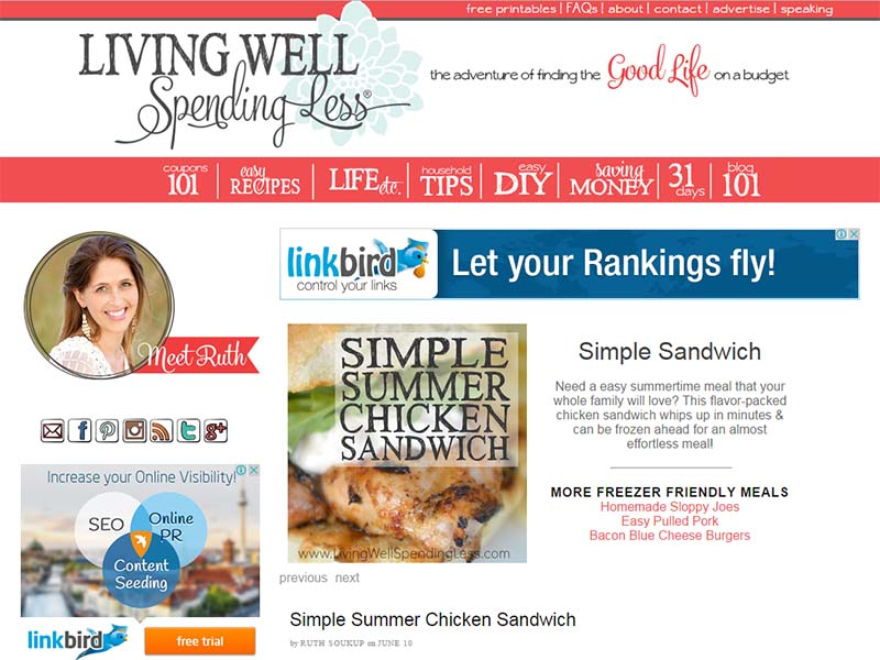 Living Well Spending Less - Website Screenshot
