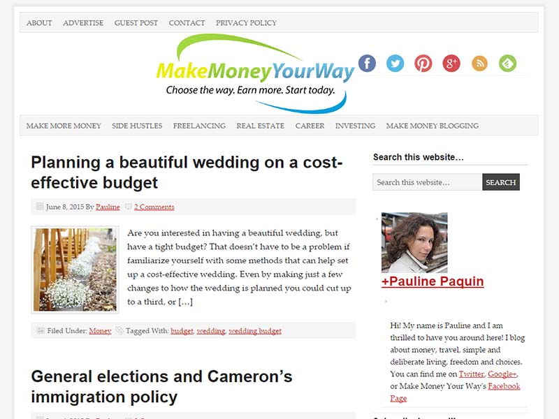 Make Money Your Way - Website Screenshot