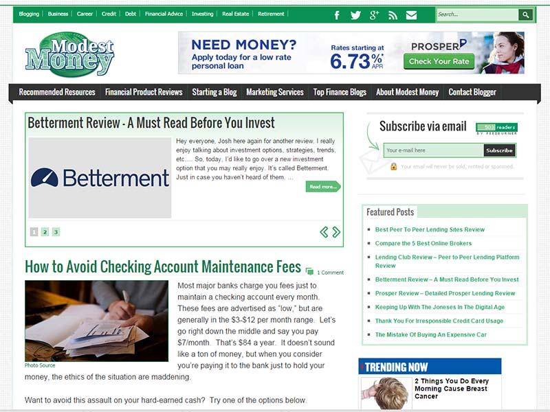 Modest Money - Website Screenshot