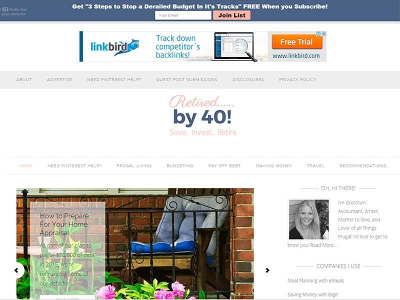 Retired by 40 - Website Screenshot