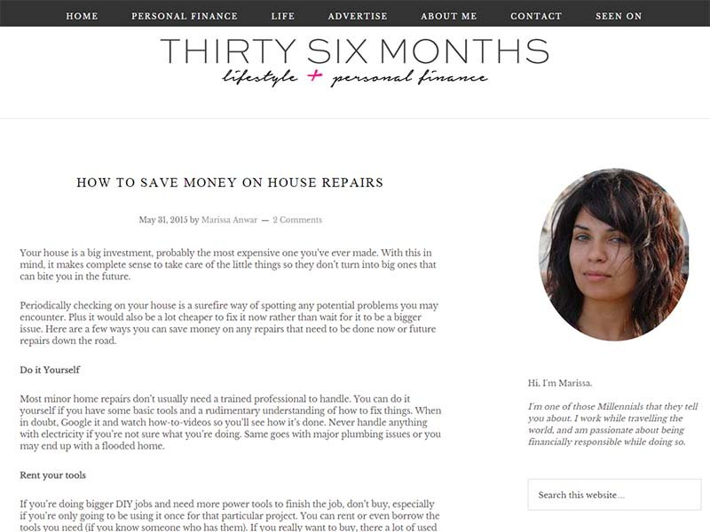 Thirty Six Months - Website Screenshot