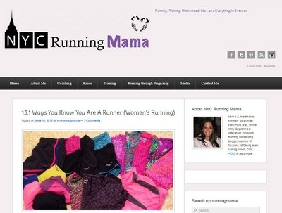NYC Running Mama - Website Screenshot