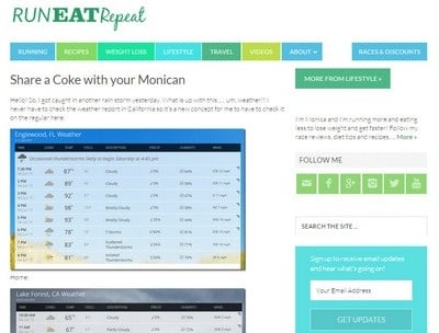 Run Eat Repeat - Website Screenshot