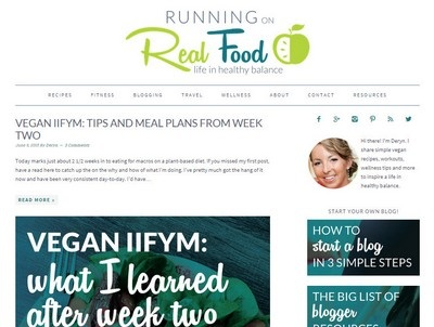 Running on Real Food  - Website Screenshot